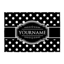 Custom Black and White Polka Dots 5'x7'Area Rug