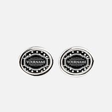 Custom Black and White Polka Dots Oval Cufflinks