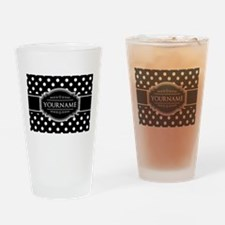 Custom Black and White Polka Dots Drinking Glass