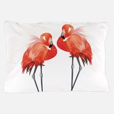 Two Pink Flamingos Pillow Case