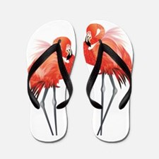 Two Pink Flamingos Flip Flops