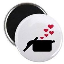 "Cooking pot red hearts 2.25"" Magnet (10 pack)"