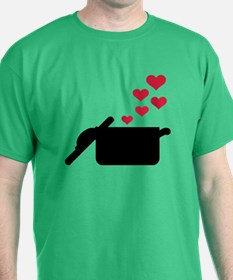 Cooking pot red hearts T-Shirt
