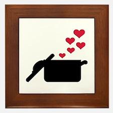 Cooking pot red hearts Framed Tile