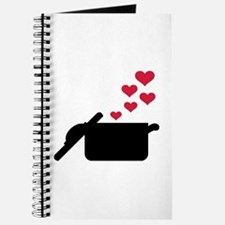 Cooking pot red hearts Journal