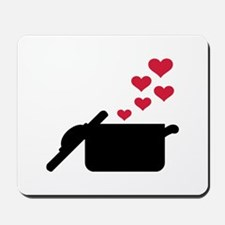 Cooking pot red hearts Mousepad