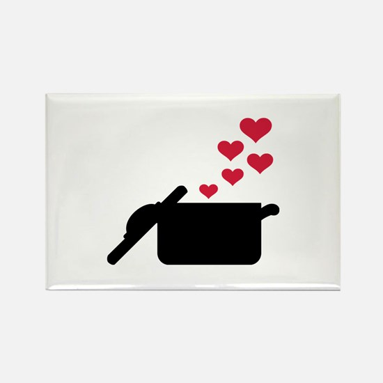 Cooking pot red hearts Rectangle Magnet