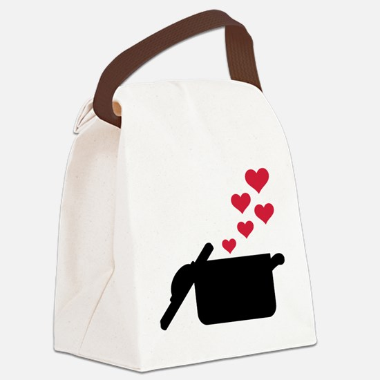 Cooking pot red hearts Canvas Lunch Bag