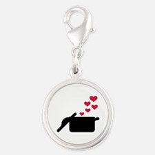 Cooking pot red hearts Silver Round Charm