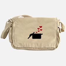 Cooking pot red hearts Messenger Bag