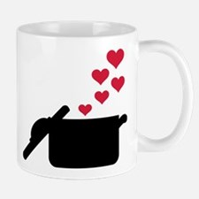 Cooking pot red hearts Mug