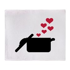 Cooking pot red hearts Throw Blanket