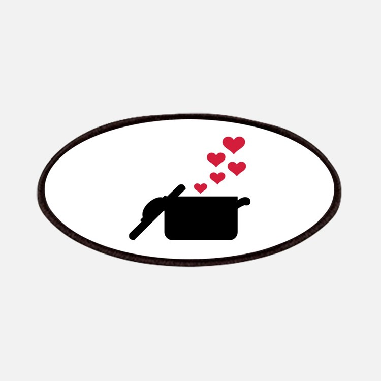 Cooking pot red hearts Patch