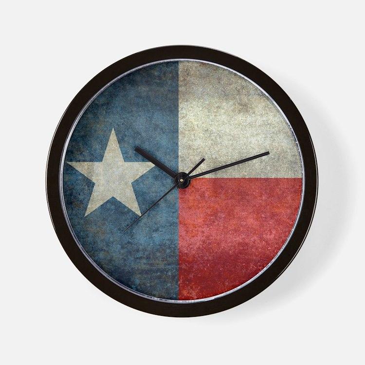 Texas state flag vintage retro style Sq Wall Clock