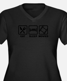 Eat sleep Mo Women's Plus Size V-Neck Dark T-Shirt