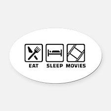 Eat sleep Movies Oval Car Magnet