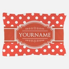 Rusty Red Polkadots Personalized Pillow Case