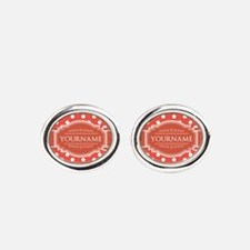 Rusty Red Polkadots Personalized Oval Cufflinks