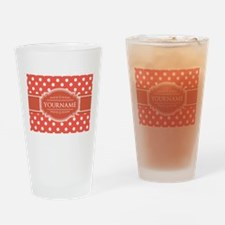 Rusty Red Polkadots Personalized Drinking Glass