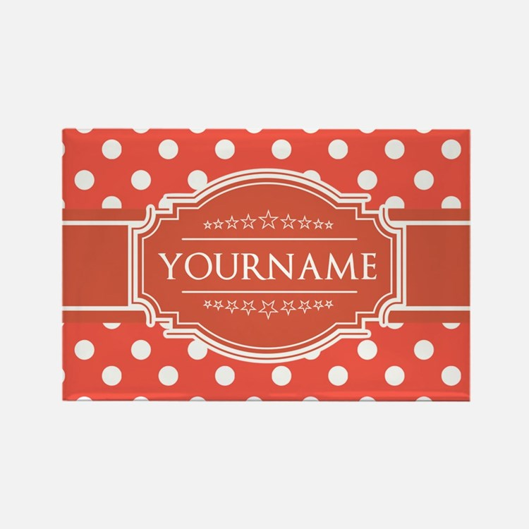 Rusty Red Polkadots Personalized Rectangle Magnet
