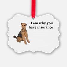 Insurance Airedale Ornament