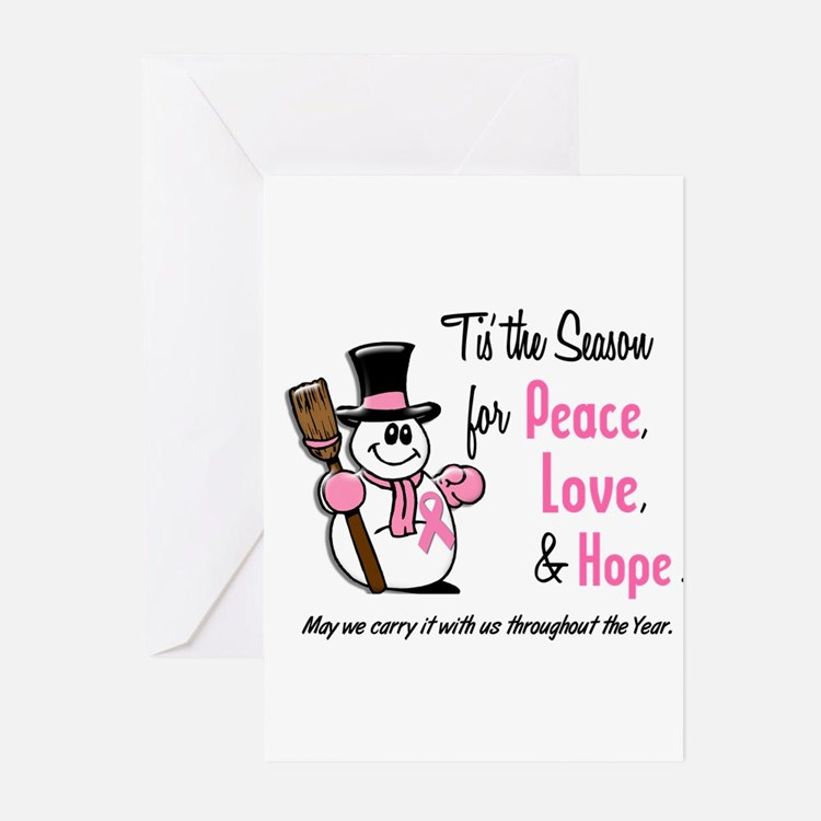 Cute Breast cancer christmas Greeting Cards (Pk of 10)