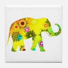 Cute Yellow elephant Tile Coaster