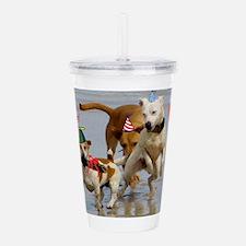happy birthday dogs Acrylic Double-wall Tumbler