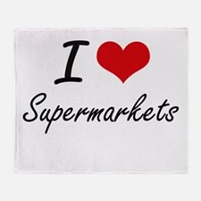 I love Supermarkets Throw Blanket