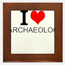 I Love Archaeology Framed Tile