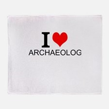 I Love Archaeology Throw Blanket
