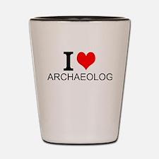 I Love Archaeology Shot Glass