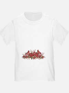 Holly, Poinsettias and Cardinal T-Shirt
