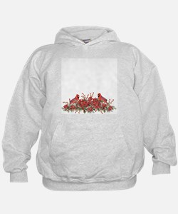Holly, Poinsettias and Cardinals Hoodie