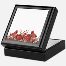 Holly, Poinsettias and Cardinals Keepsake Box