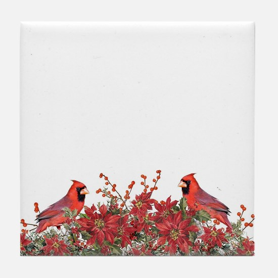 Holly, Poinsettias and Cardinals Tile Coaster
