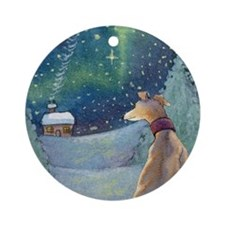 Cute Greyhound christmas Round Ornament