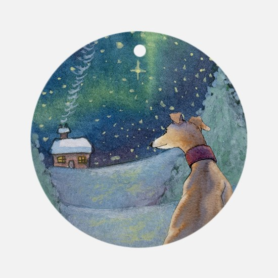 Cute Italian greyhound christmas Round Ornament