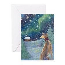 All is bright - greyhound Greeting Cards