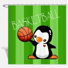 Basketball Penguin Shower Curtain