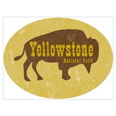 Yellowstone Bison Decal Framed Print