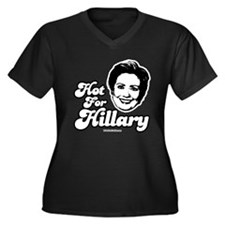 Hot for Hillary Women's Plus Size V-Neck Dark T-S