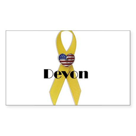 Devon (Yellow Ribbon) Sticker (Rectangle)