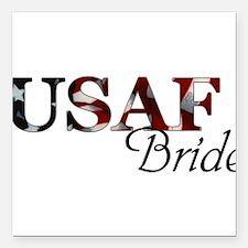 "USAF Bride (Flag) Square Car Magnet 3"" x 3"""