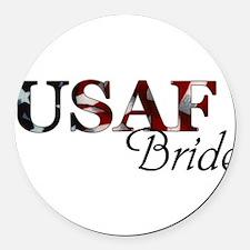 USAF Bride (Flag) Round Car Magnet