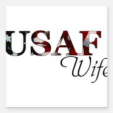 "USAF Wife (Flag) Square Car Magnet 3"" x 3"""