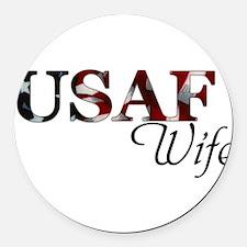 USAF Wife (Flag) Round Car Magnet