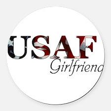 USAF Girlfriend (Flag) Round Car Magnet