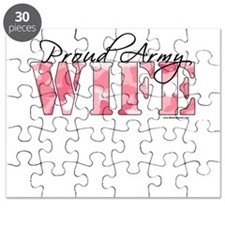 Proud Army Wife (Pink Butterfly Camo) Puzzle