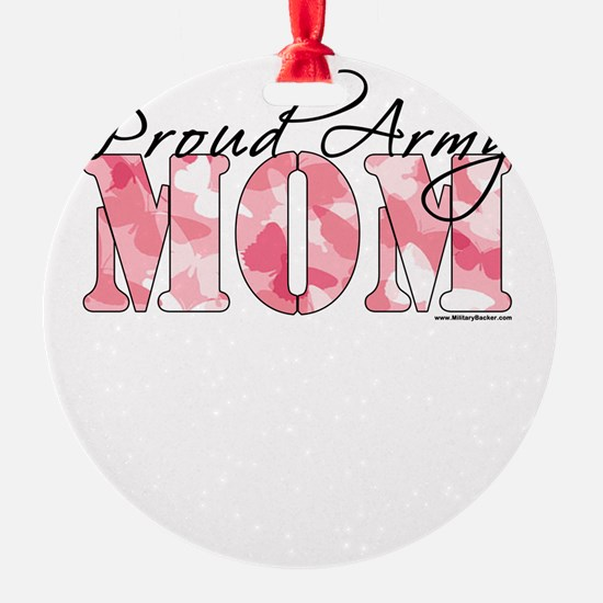 Proud Army Mom (Pink Butterfly Camo) Ornament